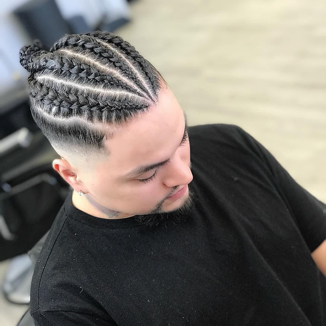 Fade Braid Man Bun Best Braid Styles Braid Styles For Men Braid Styles