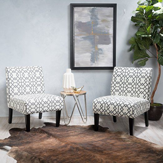 Best Kendal Grey Geometric Patterned Fabric Accent Chair Set 400 x 300