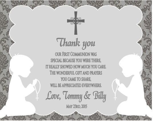 First communion thank you card shadow kneeling damask twins boys first communion thank you card shadow kneeling damask twins boys and girls thecheapjerseys Choice Image