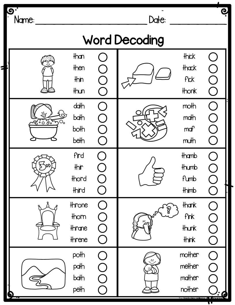 Kindergarten Word Decoding Practice Worksheets or ...