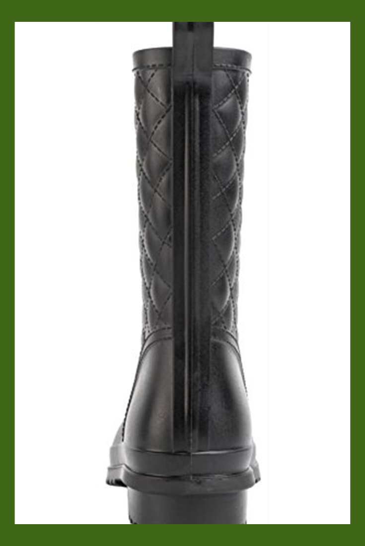 Litfun Womens Black Mid Calf Rain Boots Outdoor Work Waterproof Garden Booties W