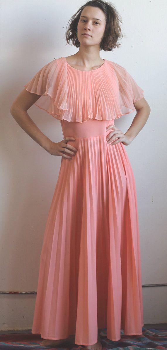 Vintage 70's Peach MAXI Dress Size M