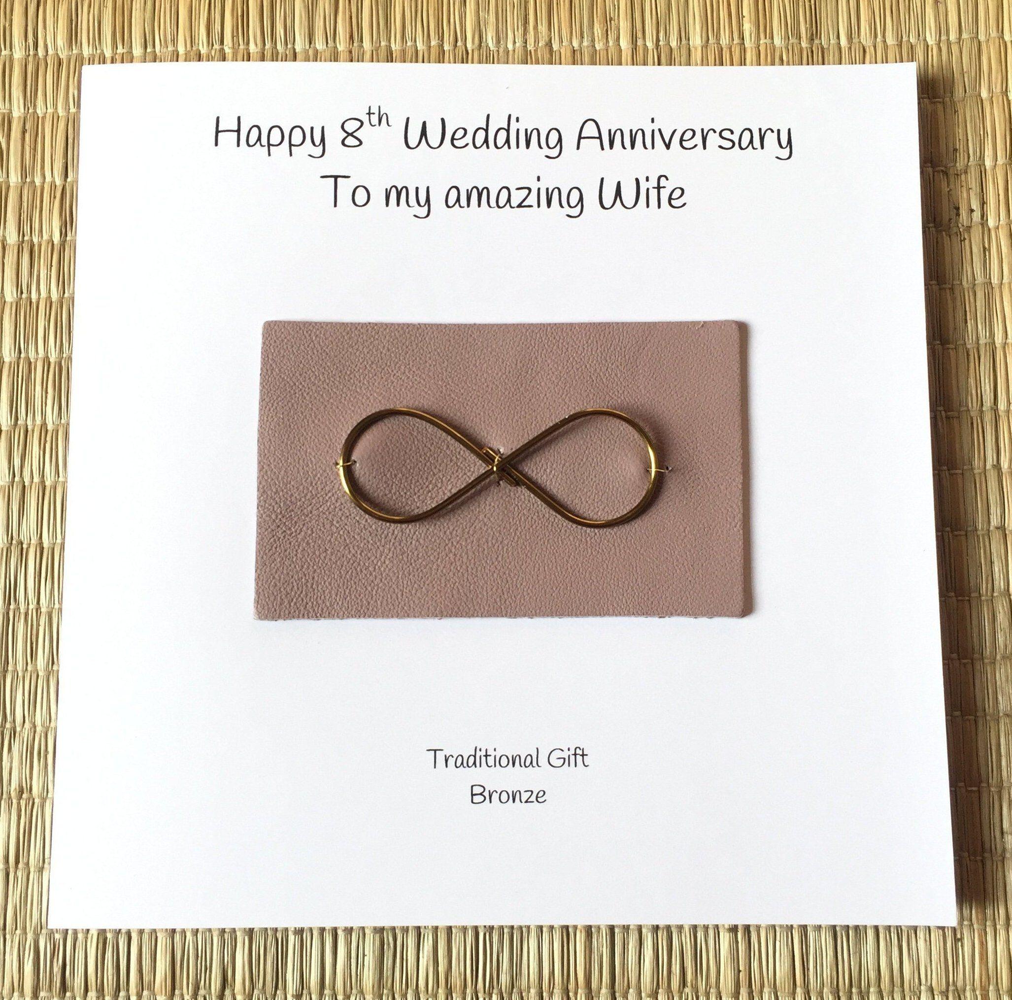 8th Wedding Anniversary Card Bronze Anniversary Infinity Handmade Uk Bronze Anniversary Anniversary Cards Handmade Wedding Anniversary Cards