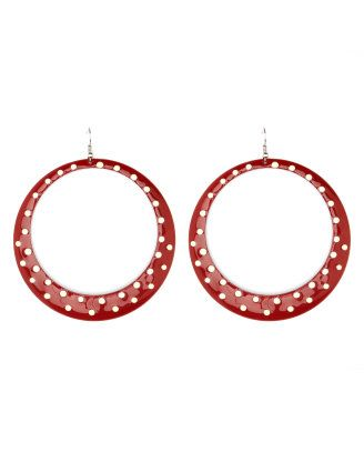 Polka Dotted Hoop Earrings from Charlotte Russe