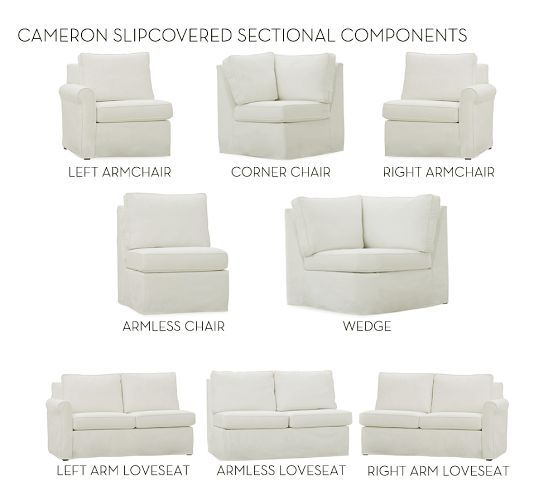 Build Your Own Cameron Roll Arm Slipcovered Sectional