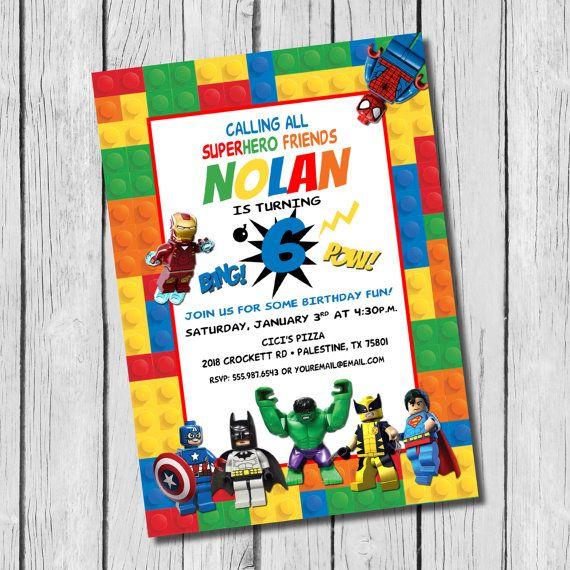 Lego Super Hero inspired Birthday Invitation / DIY Printable / Legos ...