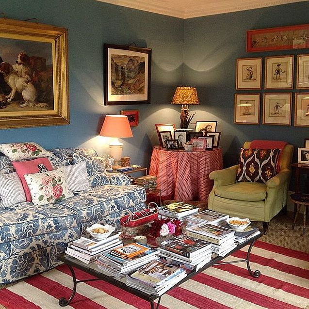 Louise Townsend Home With Red Striped Rug And Beautiful Blue Walls On  Justjanblog.
