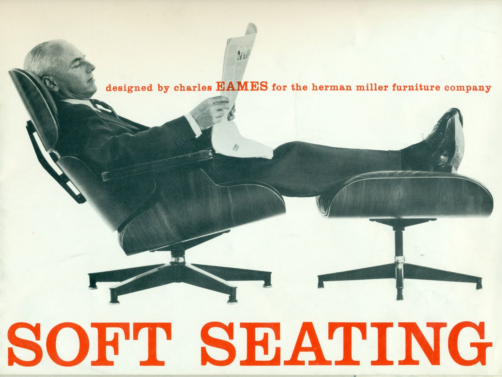 Vintage Black And White Photo Of A Man Reading A Newspaper While Reclining In An Eames Lounge Chair And Ottoman Charles Eames Eames Sessel