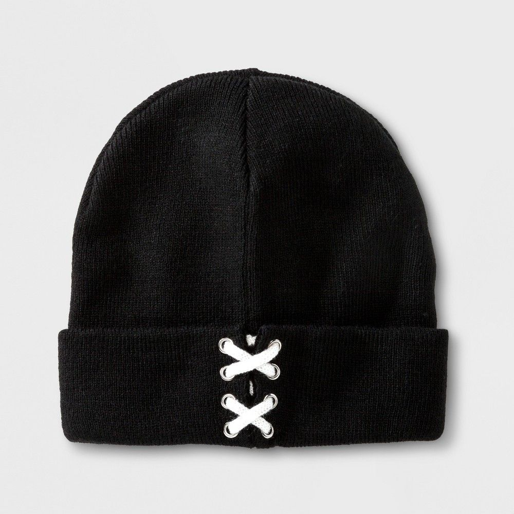 80a62c45227 Girls  Lace Up Knit Cuff Hat - art class Black