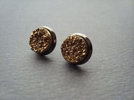 gold druzy geode stud earrings by girlsewcute on Etsy
