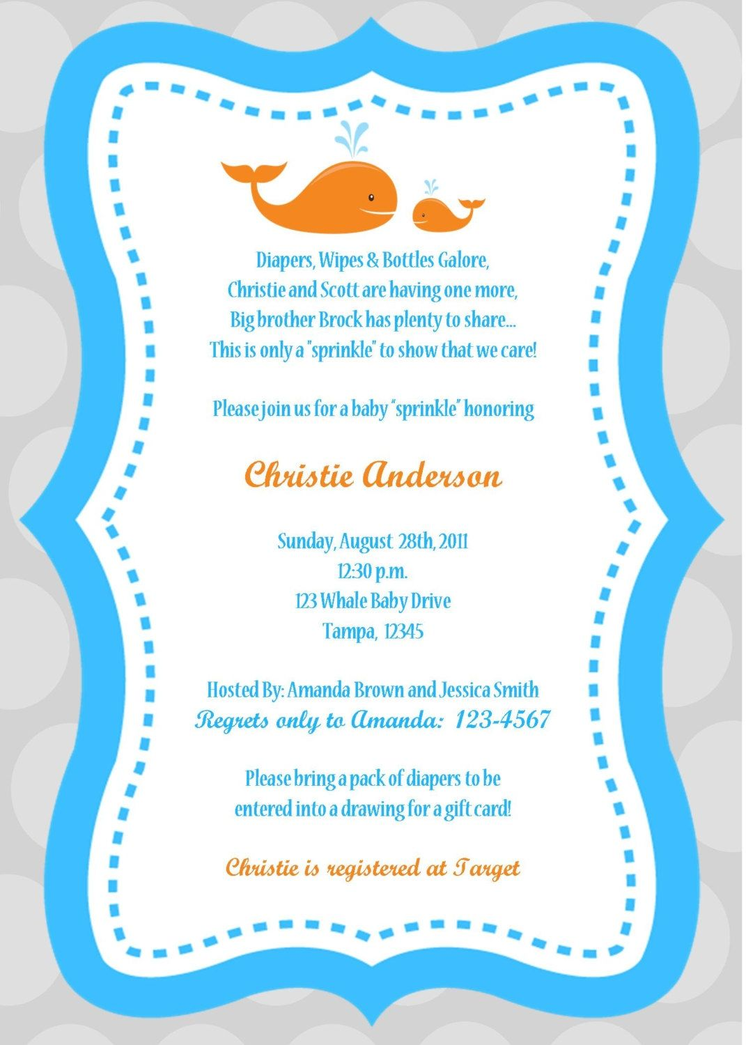 Baby Shower Wording For Boy