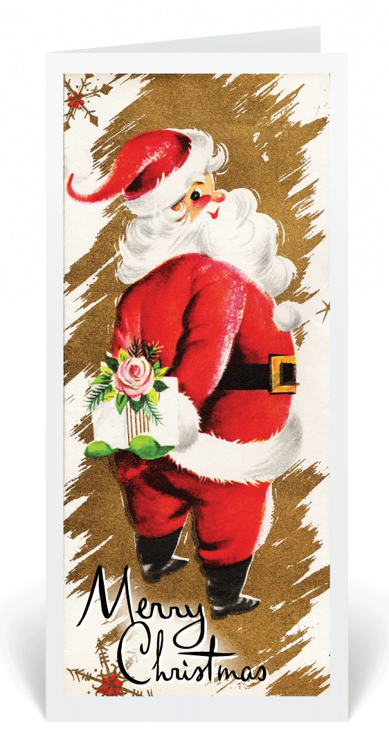 Shopping Santa Ornament Handcrafted Wood Christmas Mid-Century Modern 1950s Card