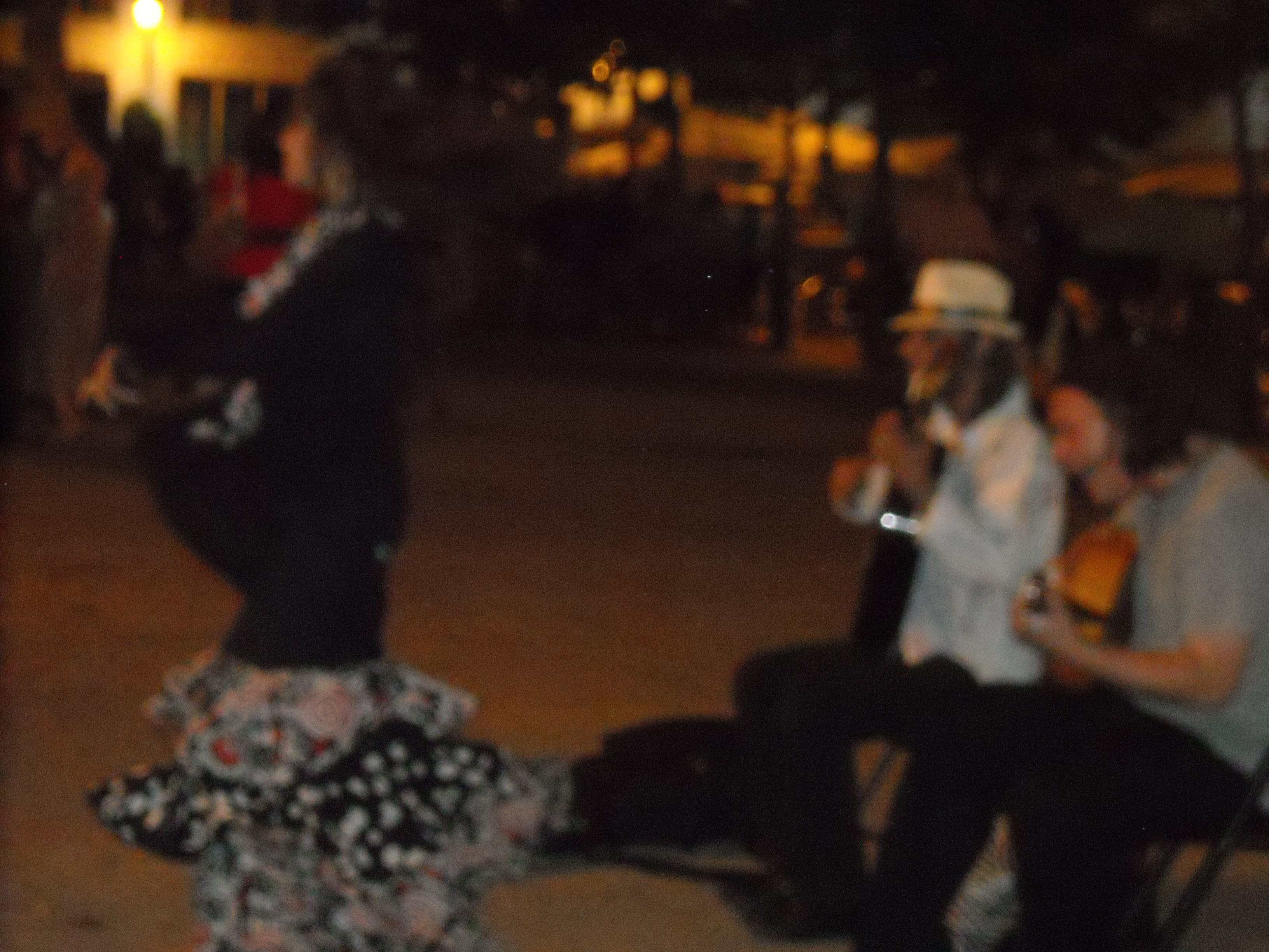 It's a blurry picture, but this was a flamenco dancer and her accompaniment. Playing in the middle of Plaza Ana, Madrid