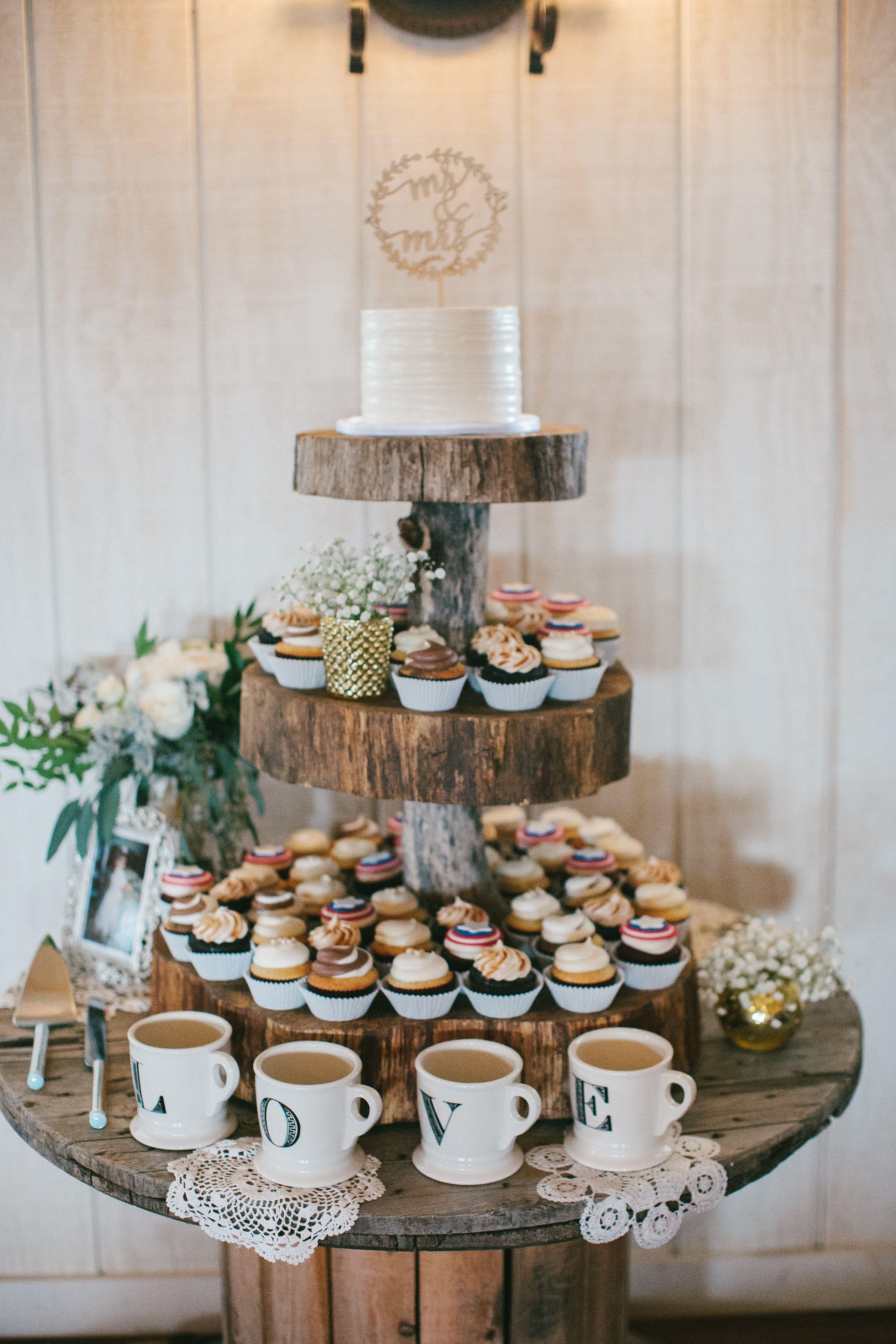 Rustic Wedding Cupcake Cake Table Dessert Table Cake Topper Barn