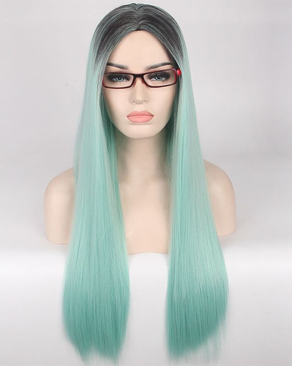 e5bea2926 Black Mint Green Ombre Cosplay Wig Long Straight Costume Wig For Women  Party Wig