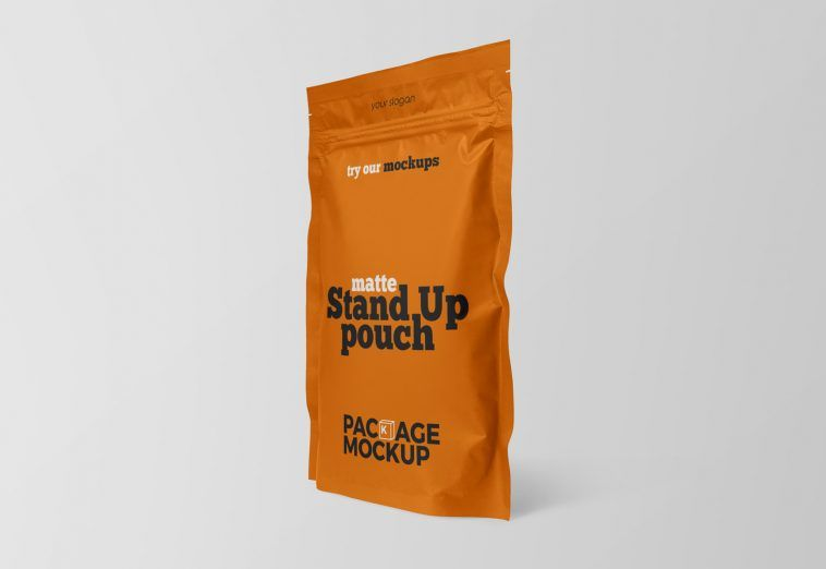 Download Side View Small Matte Stand Up Pouch Mockup Free Packaging Mockup Packaging Mockup Mockup