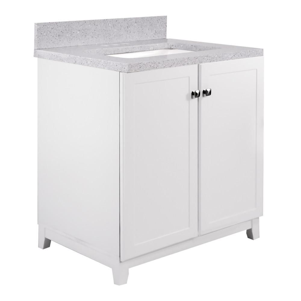 Design House 30 In X 21 In X 33 In 2 Door Bath Vanity In White With 4 In Centerset Flist Quartz Vanity Top With Basi In 2021 Vanity Combos Bath Vanities Vanity Top
