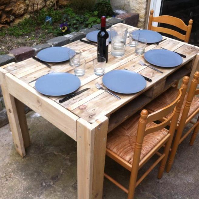 Tisch Aus Einer Palette Bauen Paletten Tisch Palettenholz Paletten Ideen
