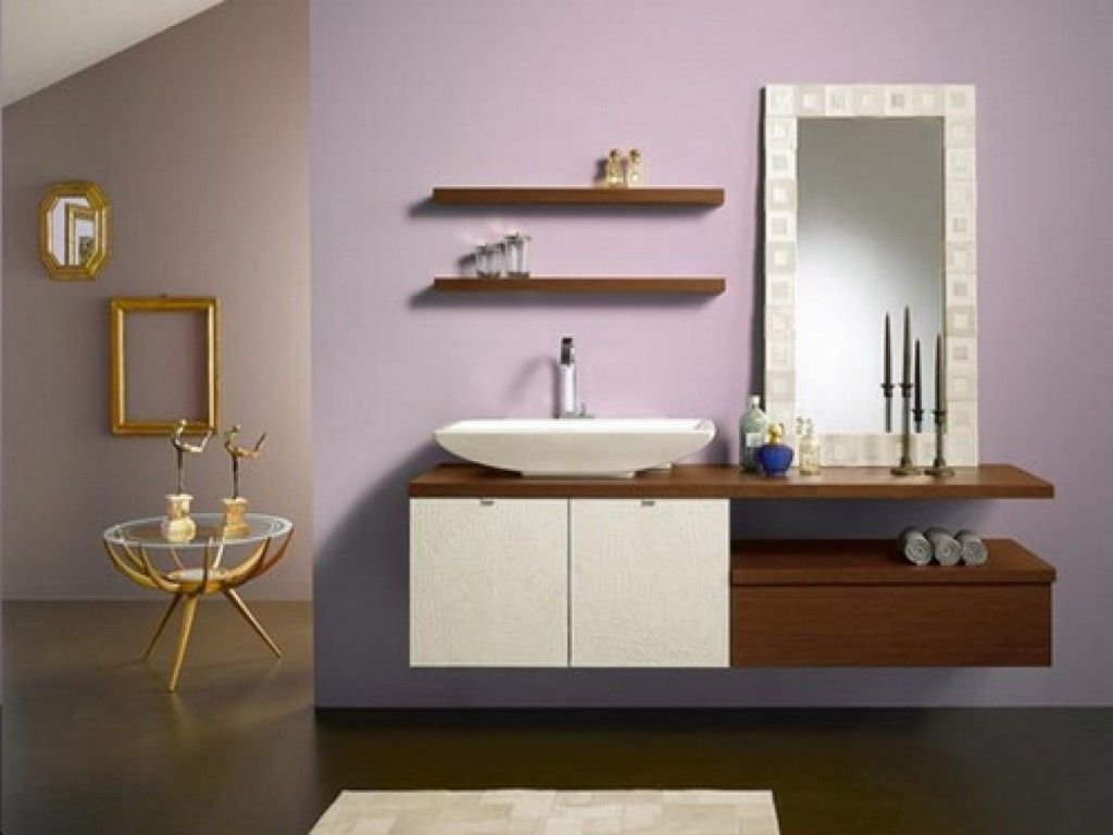 Teak Floating Shelves Over Toilet With Symmetrical Display Of Gorgeous Bathroom Cabinets Design 2018