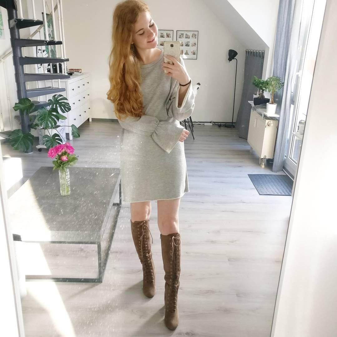 Kleid wildleder grau