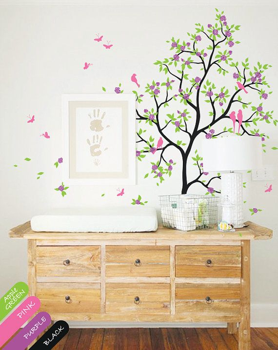 Nursery Tree Wall Decals  Mural with Tree by HappyPlaceDecals, $89.00