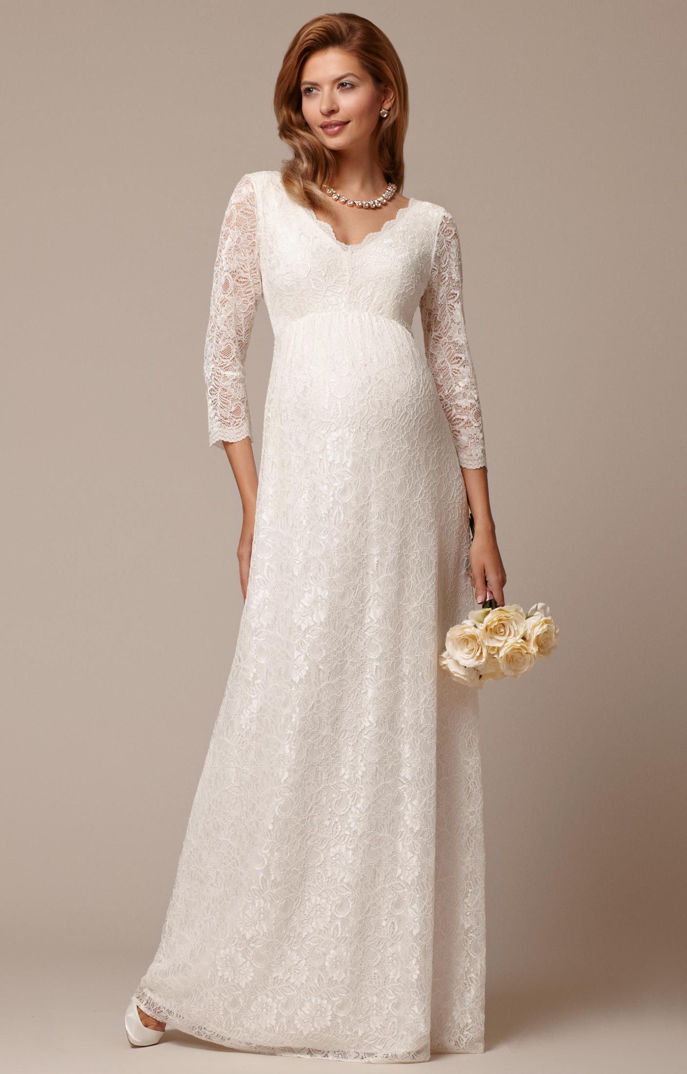 5f7ad3203f57 Chloe Lace Maternity Wedding Gown Ivory - Maternity Wedding Dresses,  Evening Wear and Party Clothes by Tiffany Rose US