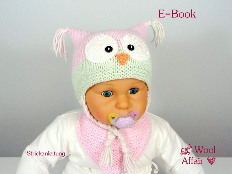 Strickanleitung❀#40 * Anleitung * Baby Eulen Mütze von WoolAffair ...