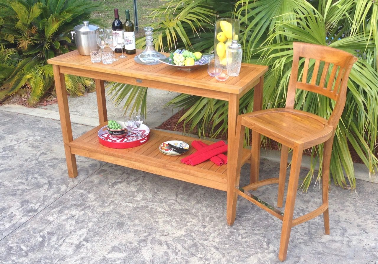 Teak Wood Amsterdam Bar Stool By Chic Teak Only 239 87 Teak Outdoor Furniture Patio Serving Table Patio Dining Table