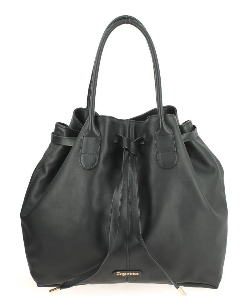 ede1699e6f Sac à main REPETTO en cuir noir | Sac seau / sac bourse / bucket bag ...