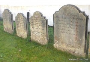 French Napoleonic prisoners of war were sent to the parole town of Alresford. Here are 5 graves dating between 1810 and 1812 of 4 soldiers and one for the wife of an officer who died in the small market town.