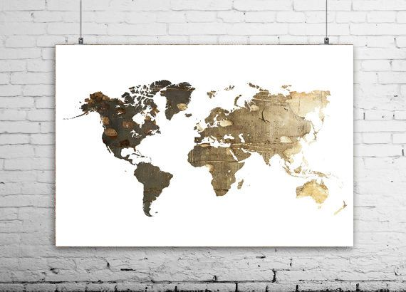Sepia World Map Wall Print Gold World Map World Map Poster - Large world map print out