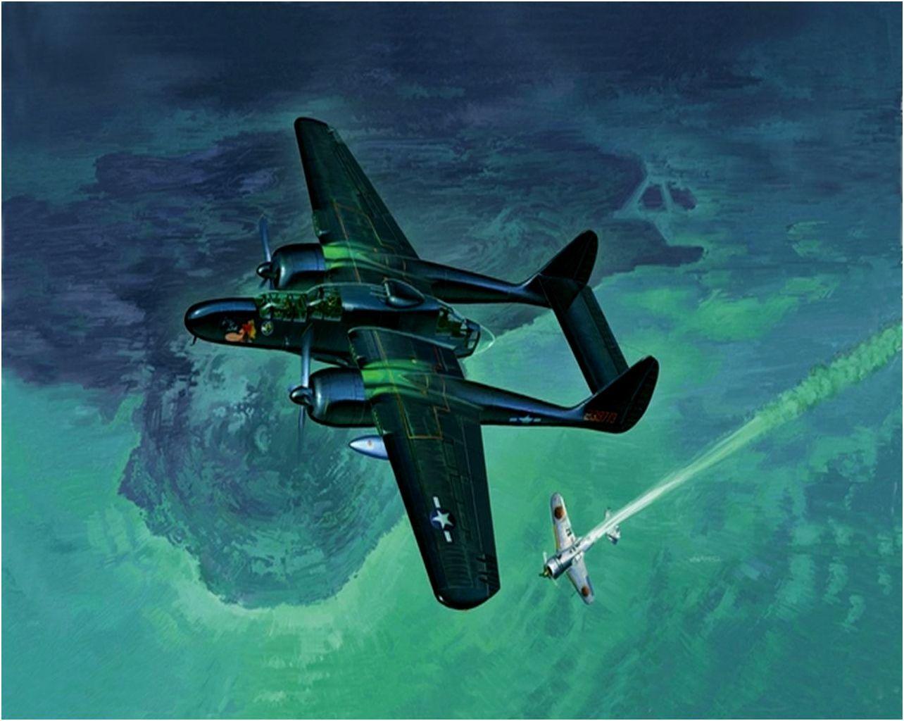 Northrop P-61B Black Widow derriba un Zero