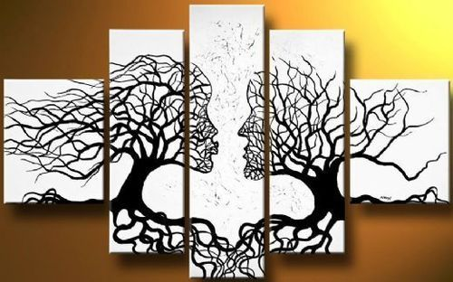 MODERN ABSTRACT HUGE WALL DECORATE CANVAS ART OIL PAINTING BLACK TREE(NO Framed)
