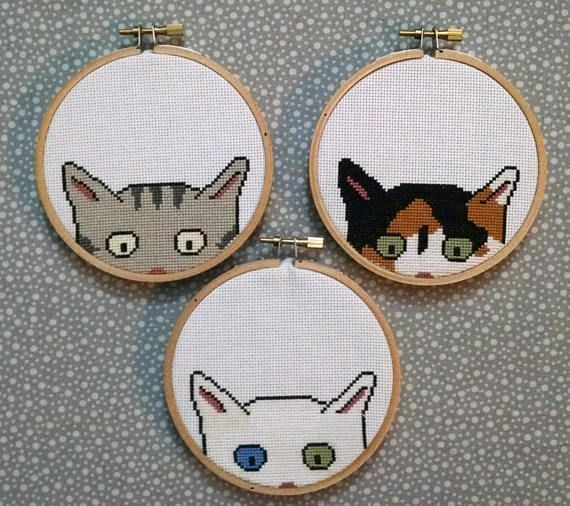 Photo of Kitty Committee – cross stitch patterns – instant digital download – 4 inch hoop – embroidery – cat kitten cute – calico tabby