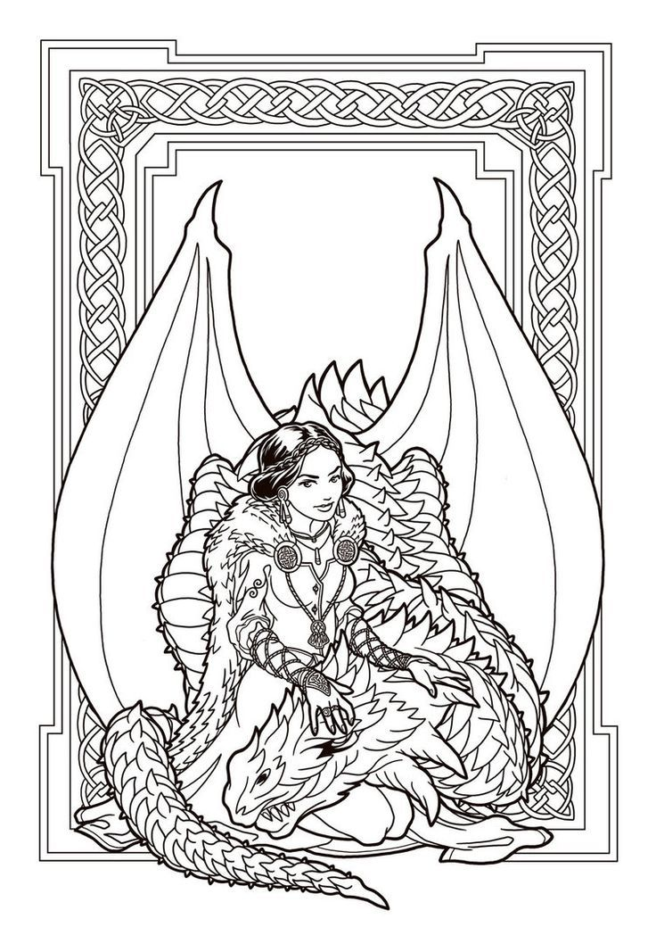 image result for free printable fantasy pinup girl coloring pages - Printable Dragon Coloring Pages For Adults