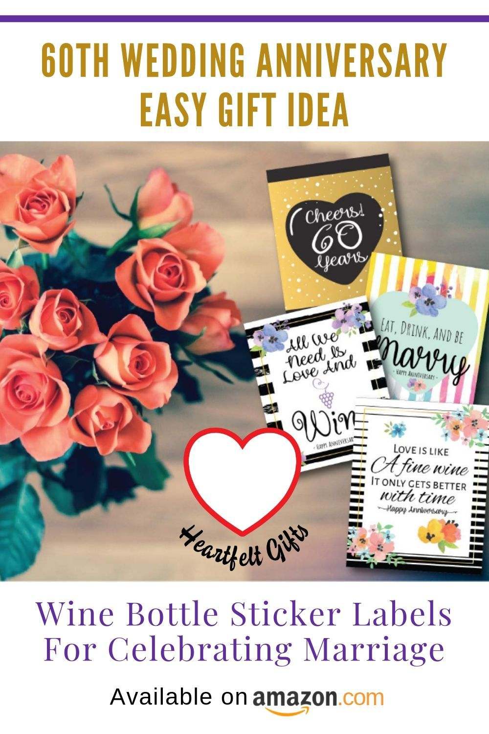 Wine bottle sticker labels for celebrating marriage! 60th