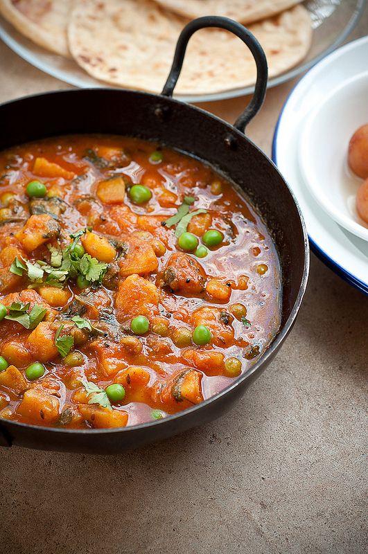 recipe: aloo matar paneer (simmered potatoes with peas and paneer) [36]