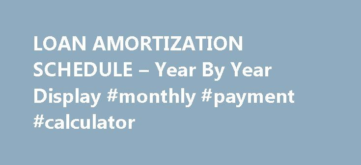 LOAN AMORTIZATION SCHEDULE u2013 Year By Year Display #monthly - amortization schedule calculator
