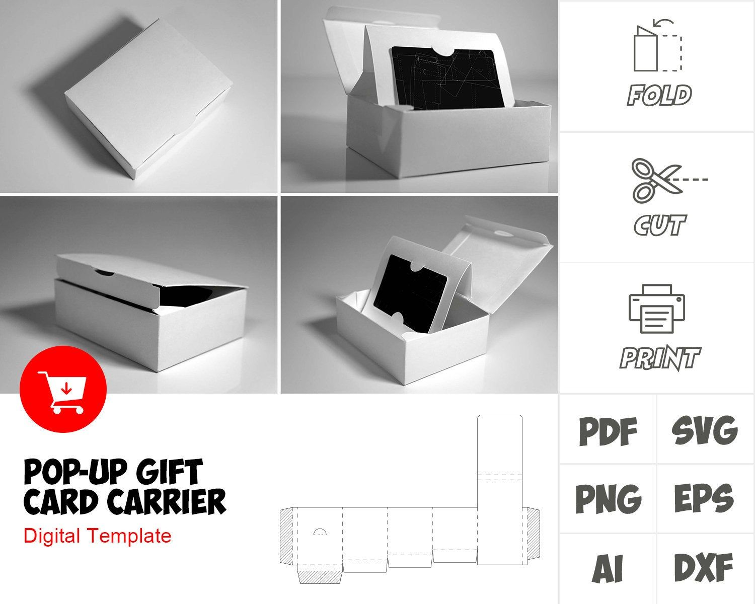 Pop Up Gift Card Carrier Template Cosmetic Packaging Design Packaging Template Box Template