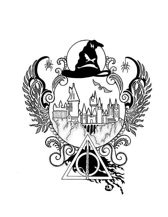 Harry Potter, Hogwarts, Zentangle, Art, Drawings, Pen and Ink, Black and White, Hand Drawn, Custom Art, Ornate Drawing