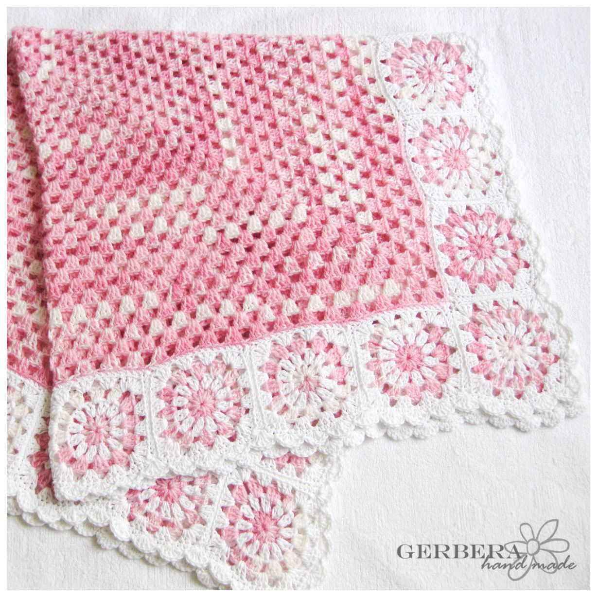 Granny Square Crochet baby blanket for baby girl - pink and white ...