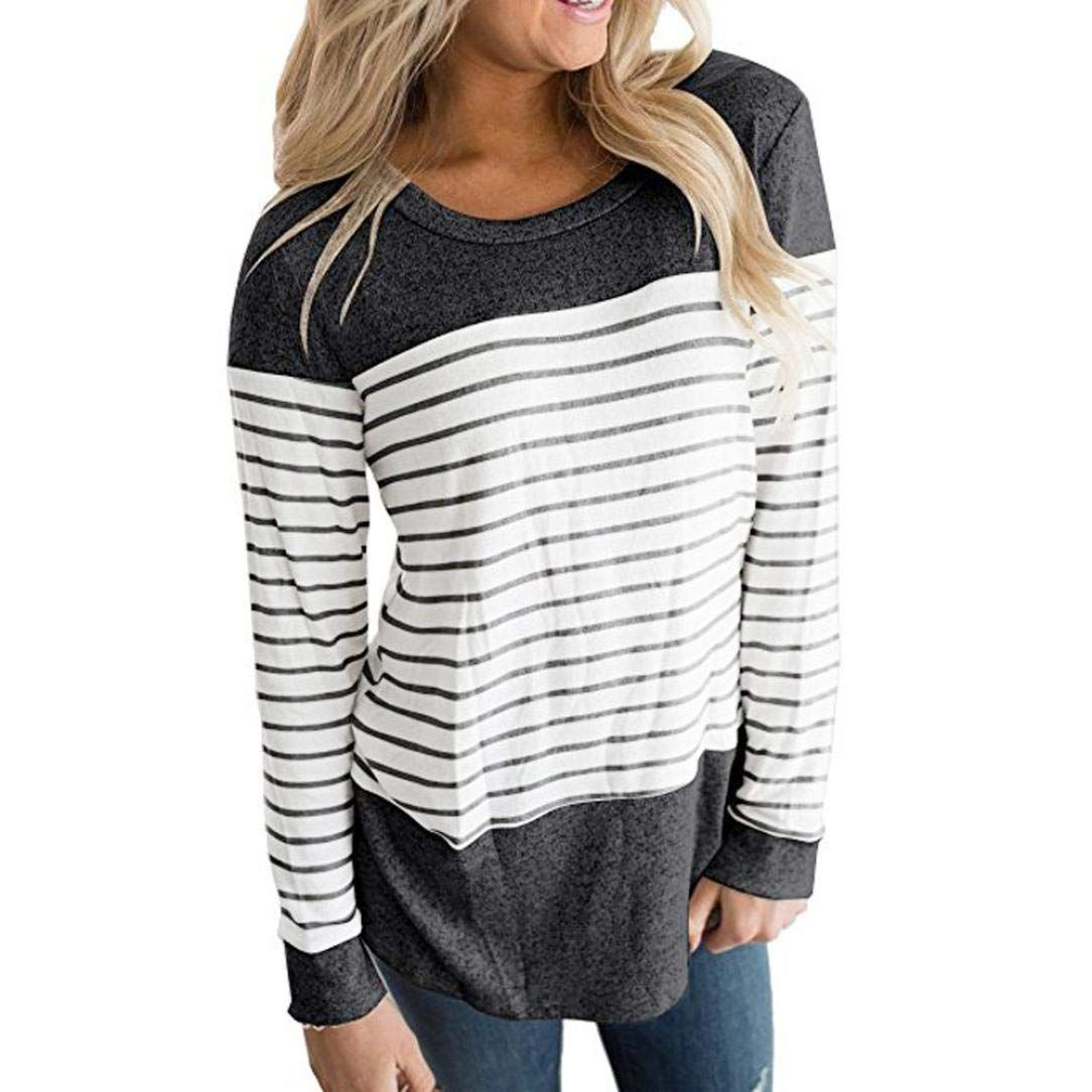 2af9d51518f Clearance Women Shirt LuluZanm Long Sleeve Color Block Striped Round Neck  Causal Blouses Tops