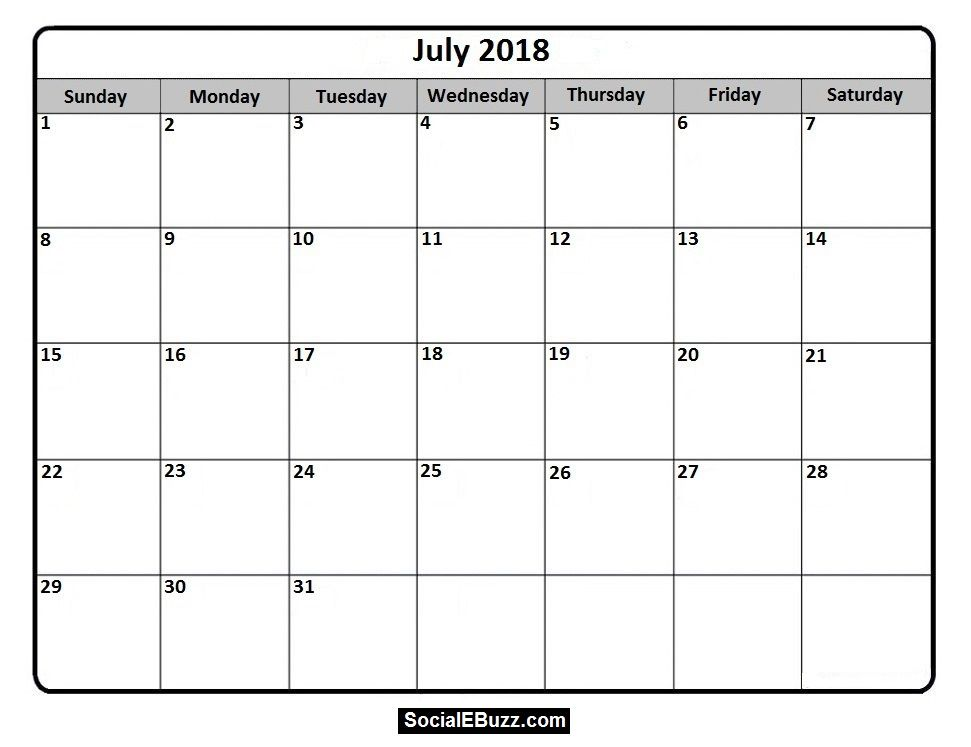 July 2018 Calendar Printable Template, July Calendar 2018, July - social media calendar template