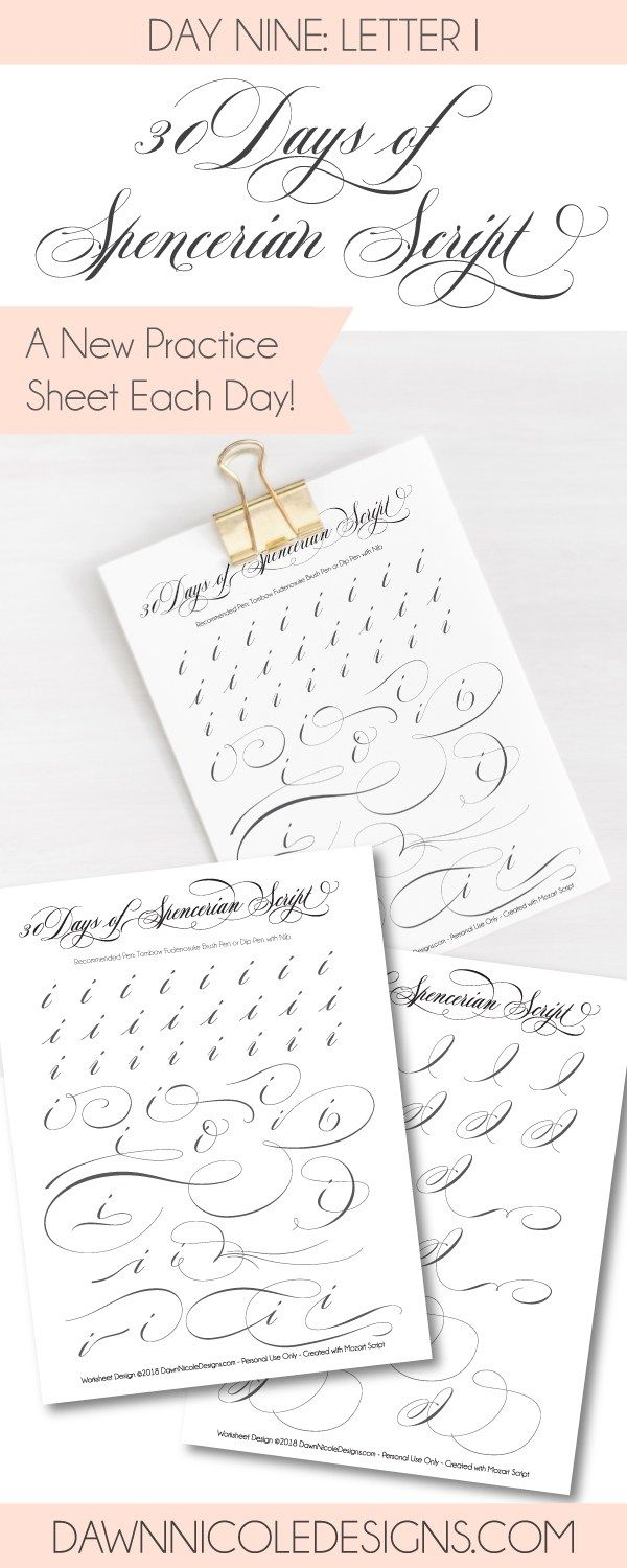 Worksheets Spencerian Penmanship Worksheets spencerian script letter i worksheets letters and 30th style this post is part of the 30 days