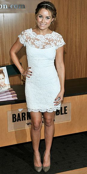 white lace dress.. perfect for the rehearsal dinner!