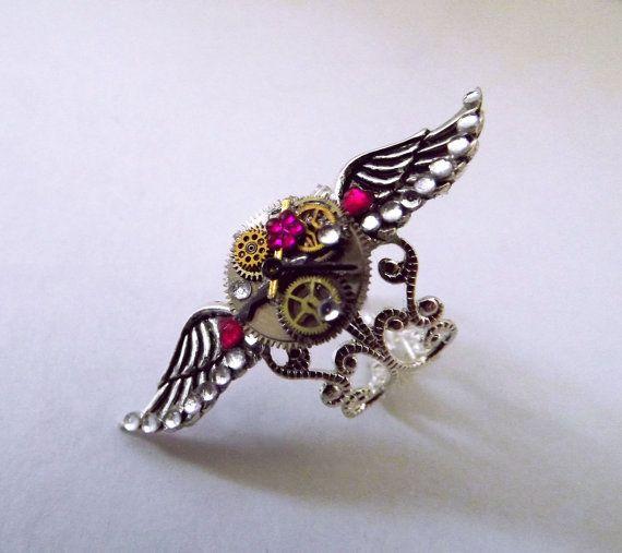 'Wings of time'  Silver steampunk angel wing, watch gear ring.