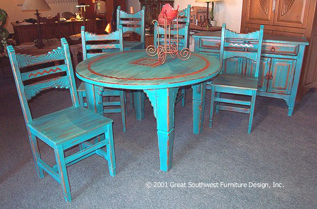 Picos Southwest Style Dining Set Tables Chairs China Cabinets