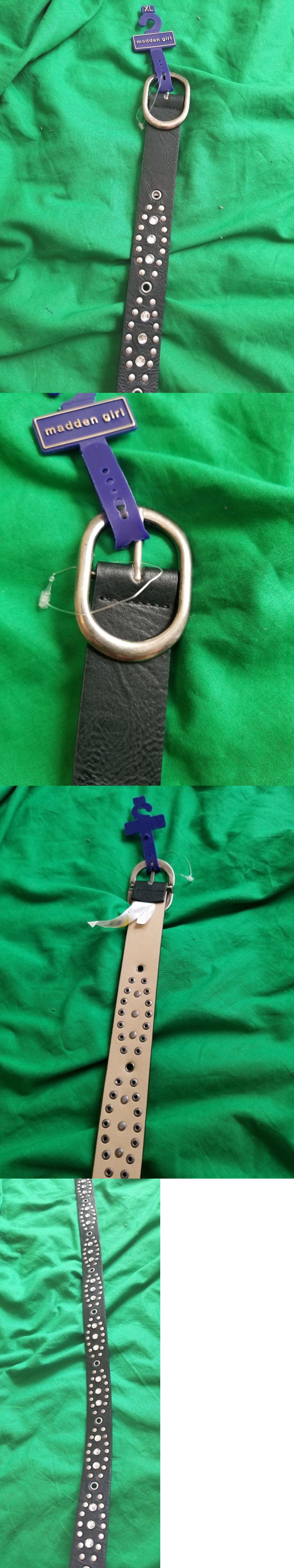 4fbd61f7b11 Belts 3003  Madden Girl Women S Belt Nwt Size Xl Black Studded Embellished  Synthetic Narrow