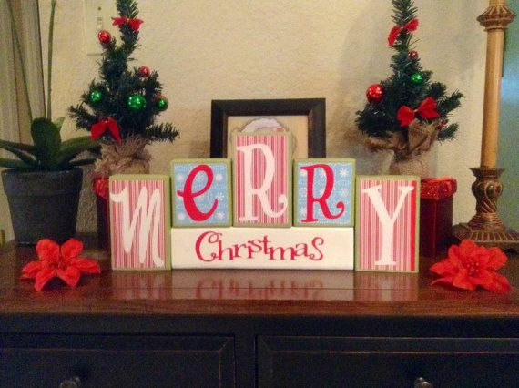 Merry Christmas / Decorative Block Letters / Home Decor / Wood Letters /  Holiday Decorations /