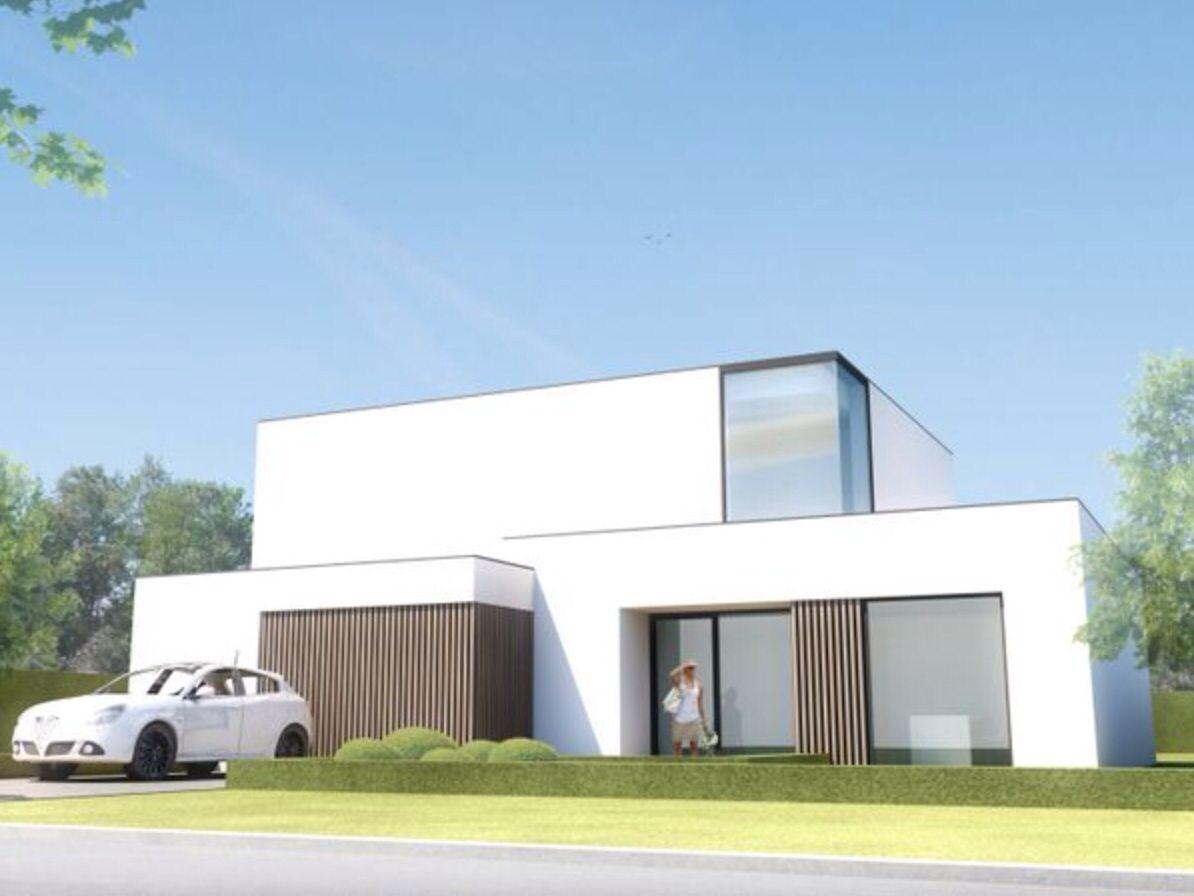 Prachtige crepi in combinatie met hout moderne bouwstijl for Villa interieur moderne